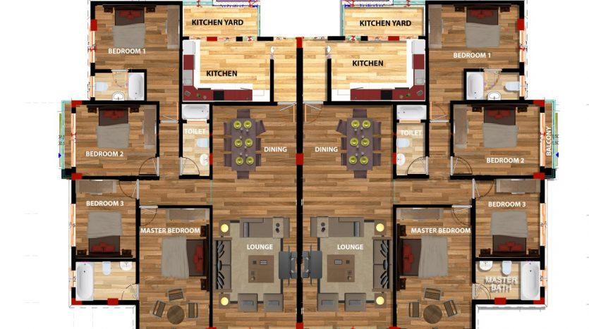 4 bedroom apartments plan in Kilimani by Danco Ltd.