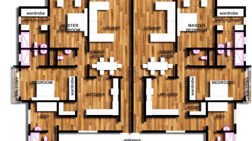 2 bedroom apartments plan in Kilimani by Danco Ltd.